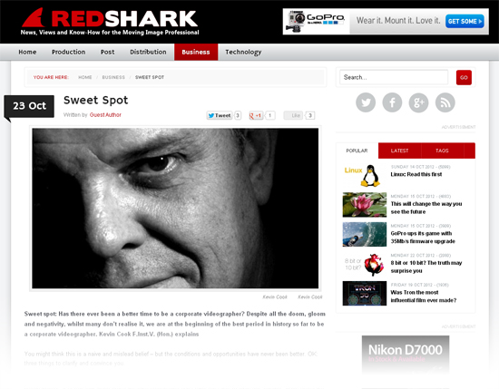 Freelance writer for RedShark online magazine
