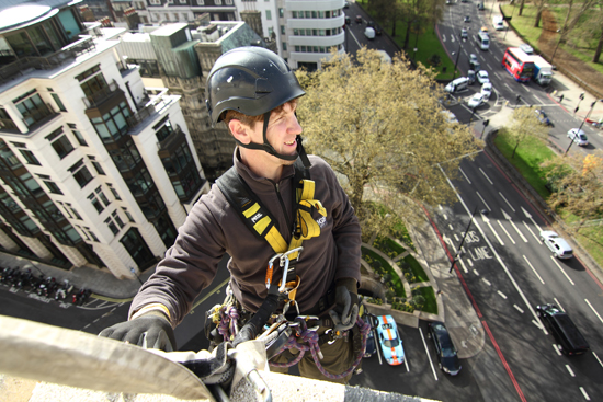 Filming over the edge at the Dorchester Hotel
