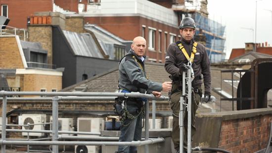Ambassadors Theatre guys on ladder system