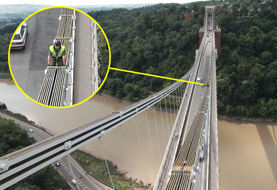 Filming Eiger Safety on the Clifton Suspension Bridge
